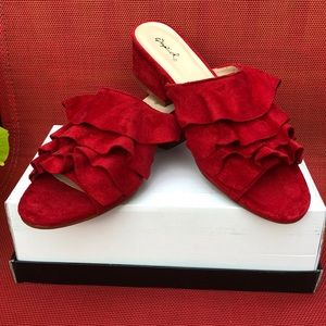 Qupid Red Faux Suede Slip-on - New